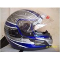 Blue and grey open faced helmet