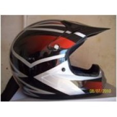 Black and white open face helmet